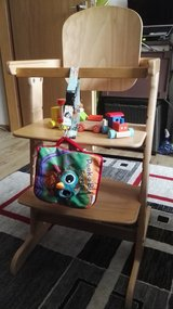 "New,""GEUTER""wooden,sturdy toddler chair,4high positions,with toys in Ramstein, Germany"
