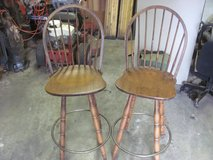 2 SOLID WOOD BAR STOOL HIGH BACK SWIVEL CHAIRS in Warner Robins, Georgia