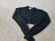 Juniors black sweater crop shrug medium in Naperville, Illinois