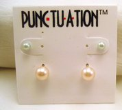 NWT Punctuation White Ivory Cream Faux Pearl 2 pr Set Stud Post Dainty Cute Fashion Earrings in Houston, Texas