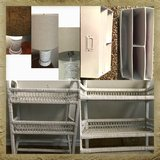 Bundle Decore mail holder ,whicker wall shelf , and marble white lamp brown shade see details $4... in Lackland AFB, Texas