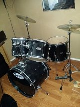 Squier 5 piece drum set and stool in Travis AFB, California