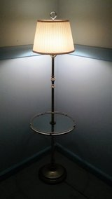 Brass Floor Lamp With Glass Table in Beaufort, South Carolina