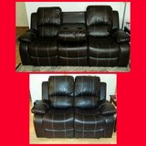 DARK Brown Reclining Leather Sofa with armrest and loveseat... in CyFair, Texas