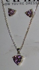 new napier pink heart necklace/earrings in Plainfield, Illinois