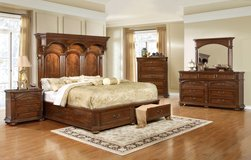 Tudor Queen Size Bed Set - bed + dresser + mirror + 1 night stand + Delivery in Ansbach, Germany