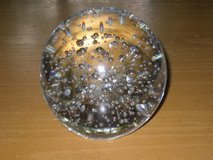 heavy clear art glass bubble paperweight in St. Charles, Illinois