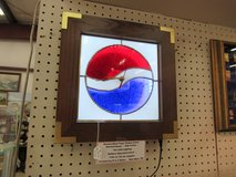 Handcrafted Pepsi Theme LED Lighted Stained Glass Clock Oak Frame in Cherry Point, North Carolina