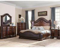 Edinburgh Queen Size Bed Set - bed + dresser+ mirror + 1 night stand + delivery in Lakenheath, UK