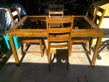 Glass top oak table w/4chairs in Kankakee, Illinois