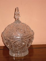 "8-1/2"" crystal candy dish w/lid in Glendale Heights, Illinois"