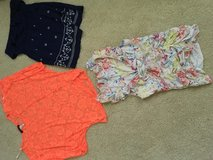 Misc clothes size small/medium tops. Size 5 shorts in Evansville, Indiana