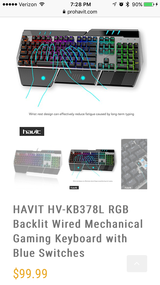 Havic rgb backlot mechanical gaming keyboard. AWESOME in Fort Campbell, Kentucky