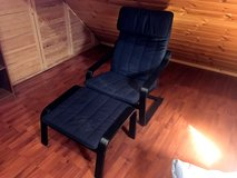 Ikea Poang Chair (Black) With Ottoman in Ramstein, Germany