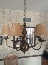 Light fixture... Brass with newer shades added in Plainfield, Illinois