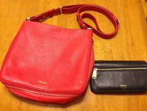 Fossil leather cross body and wallet in Okinawa, Japan