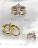 14K Yellow Gold, Marquise and Baguette Diamond Ring Set Size 4.75 in Camp Lejeune, North Carolina