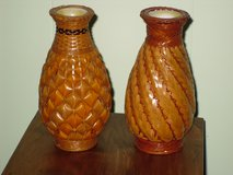 "6-1/2"" wicker vases w/glass insert in Oswego, Illinois"
