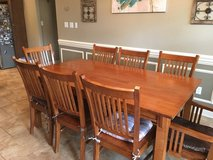 Mission Style Kitchen Table with 12 Matching Slat Back Chairs in Shreveport, Louisiana