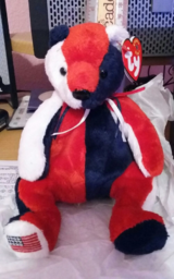 """TY BEANIE BABIES USA RED WHITE & BLUE PATRIOT BEAR 7.5"""" BEANBAG DOLL W/ TAGS in Spring, Texas"""