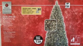 New / 7.5 ft. Wesley Slim Spruce Pre-Lit Clear Christmas Tree in Clarksville, Tennessee