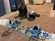 Snowboard with boots and helmet in Cleveland, Ohio