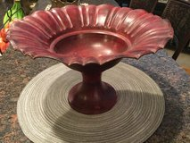 Red Metal Pedestal Bowl in Naperville, Illinois