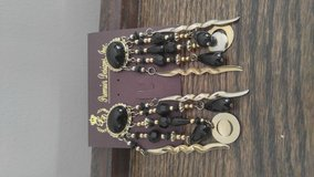 Black and gold pierced earrings in Batavia, Illinois