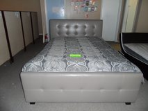 brand new Q-size Bed in taupe w/ mattress in Fort Knox, Kentucky