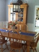 Farm style table with 8 chairs an cabinet in Fort Rucker, Alabama