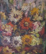 Original vintage oil painting, flowers in Fort Campbell, Kentucky
