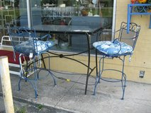 Black Metal Bar Table & 2 Blue Metal Stools in Camp Lejeune, North Carolina