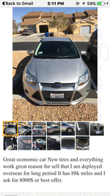 Ford Focus SE 2012 in Fort Irwin, California