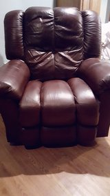 Burgundy Leather Recliner Chair - $100 (Eliz. City/ So. Mills) in Elizabeth City, North Carolina