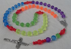 Rainbow Rosary Bright Colors Frosted Glass Beads Necklace Unique Happy Colors in Kingwood, Texas