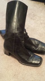 Black Italian leather mid-calf boots in Fort Rucker, Alabama