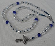 Bride Quinceanera Rosary Czech Clear Crystal Beads Accents in Cobalt Blue Dainty Small Rosary Si... in Houston, Texas