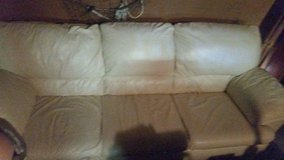 Cream leather couch in Conroe, Texas