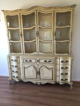 KARGES BREAKFRONT / CHINA CABINET FRENCH PROVINCIAL Hand Painted in Chicago, Illinois