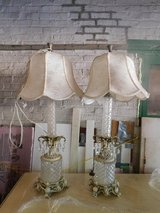 "2 Tall 40"" Crystal French Provincial Table Lamps with Original Shades in Westmont, Illinois"