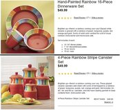Rainbow 16-Piece Dinnerware Set (3 sets) & Cannisters in Fort Drum, New York