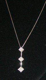 """10K White Chain Necklace with 'Past, Present, & Future""""  Diamond Pendant in Fort Campbell, Kentucky"""