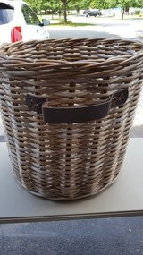 BASKET, LARGE, WOOD/LEATHER in Naperville, Illinois