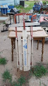 Antique wood sled in Salina, Kansas