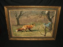 "Peter Darro Original Oil Painting "" Blue Jay and Red Fox"" in St. Charles, Illinois"