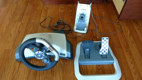 Xbox 360 Wireless Racing Steering Wheel Force Feedback Pedals Mount & Power Cord in Camp Lejeune, North Carolina
