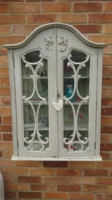 Antique Painted Wall Hung Glass Display Cabinet in Lakenheath, UK