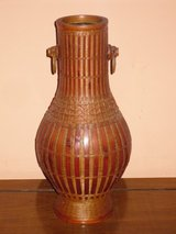 "wicker vase w/glass insert 12-1/2"" in Bolingbrook, Illinois"
