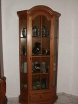Cabinet with glass, solid oak, height: 186 cm, depth: 36 cm, width: 85 cm, with a drawer. in Baumholder, GE