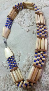 "Wood & Cobalt Bead Choker Necklace ""Ocean Blue"" in Warner Robins, Georgia"